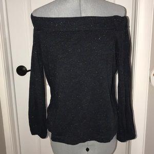 Long sleeve dark gray off the shoulder top